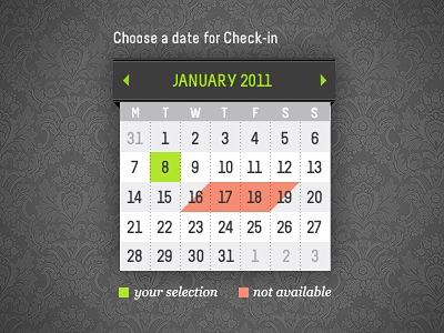 Календарь с диагональным выделением